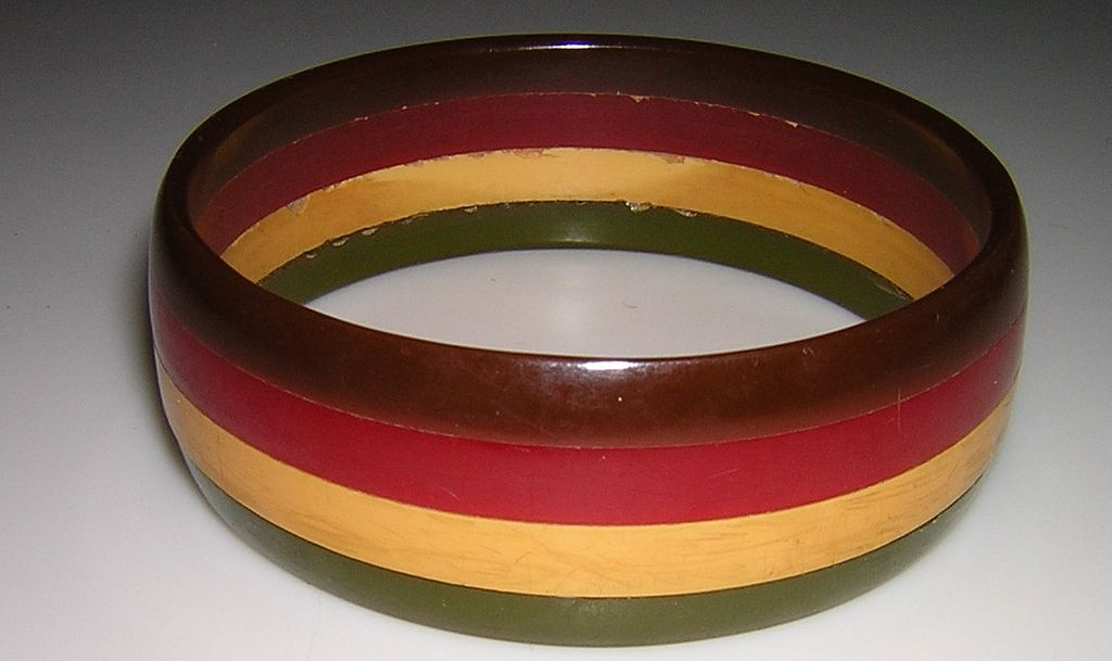 Four Color Laminate Bakelite Bracelet