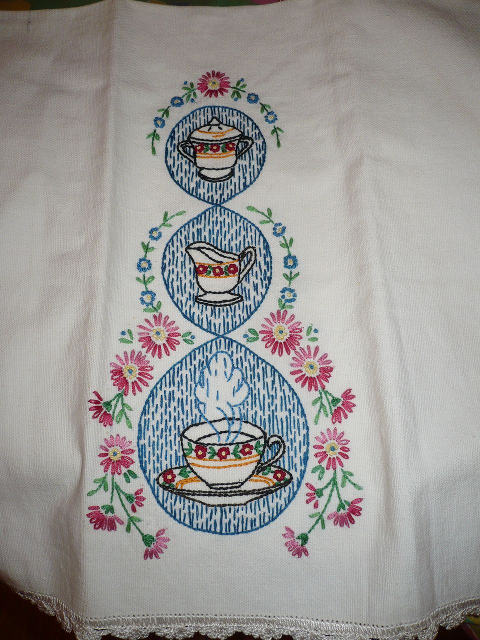 Vintage Hand Embroidered Towel