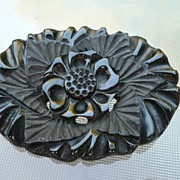 Large Deep Carved Floral Bakelite Pin