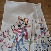 Six Hand Embroidered Farmer Days of the Week Towels