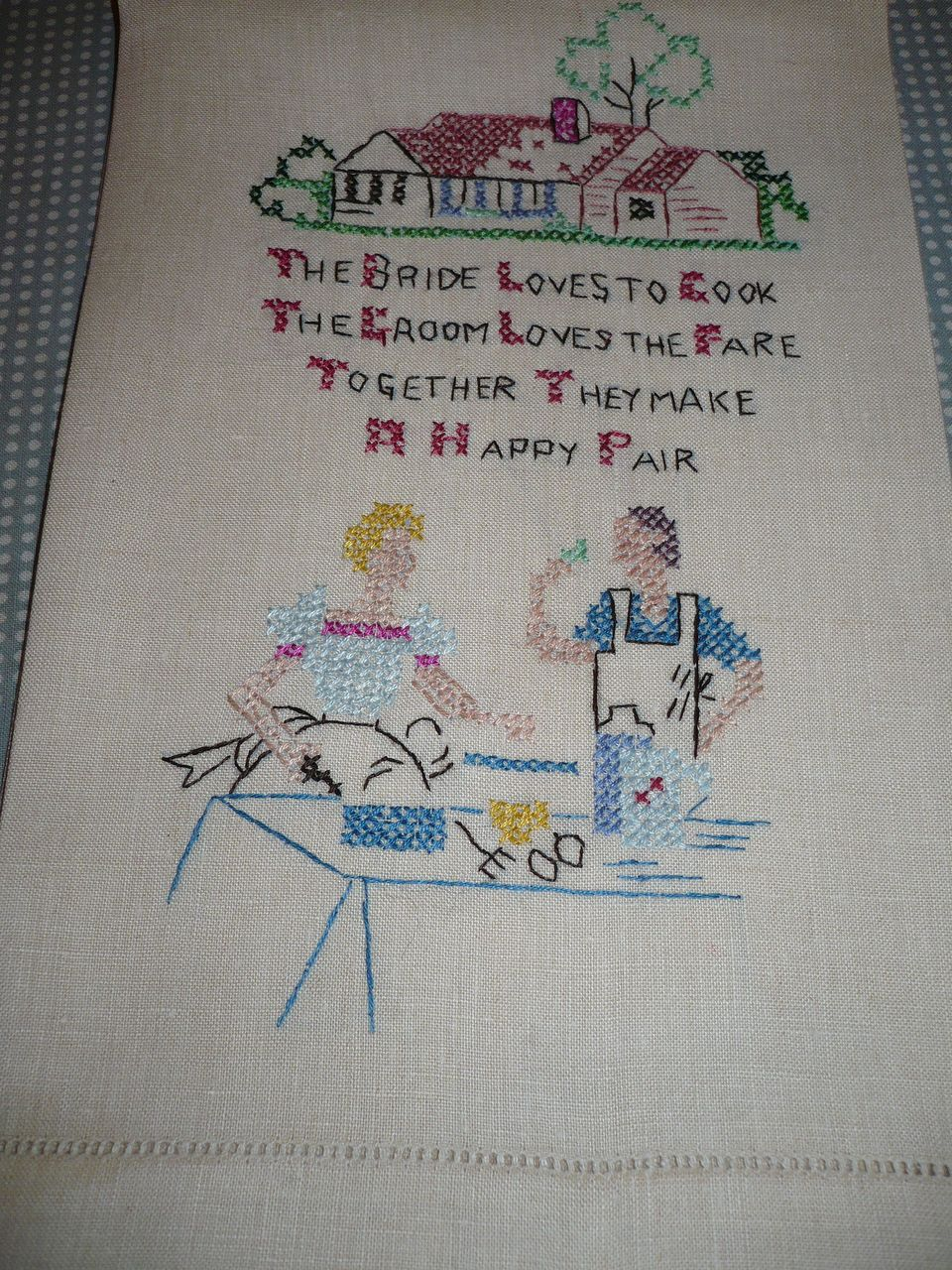 Vintage Bride & Groom Embroidered Towel