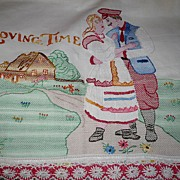 Vintage Hand Embroidered Huck Towel Loving Time