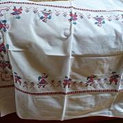 Vintage Embroidered Dancers Tablecloth