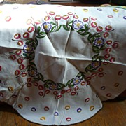 "Hand Embroidered 52""D Deco Tablecloth"