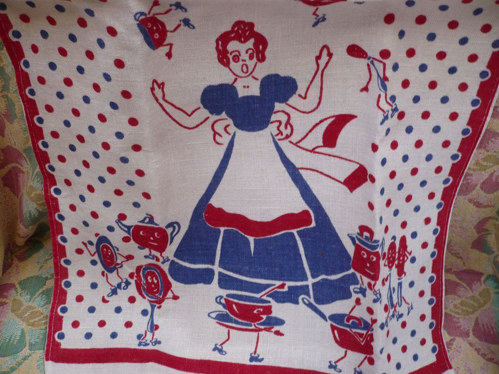 Woman and Dancing Dishes Towel