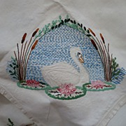 Hand Embroidered Swan Tablecloth