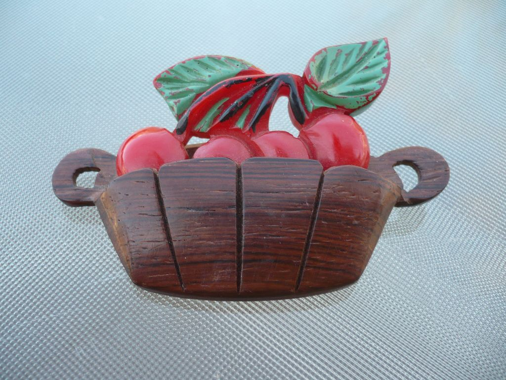 Bakelite  & Wood Cherry Basket Pin