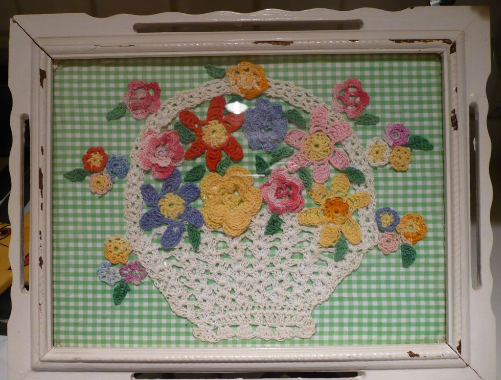 Framed Country Cottage Crochet Basket
