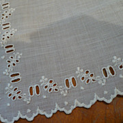Vintage Linen Handkerchief Eyelets for Ribbon