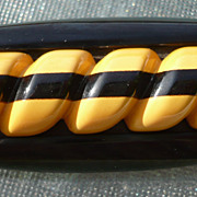 Bakelite Black & Cream Carved Pin