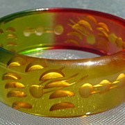 Reverse Carved Colored Bakelite Bracelet