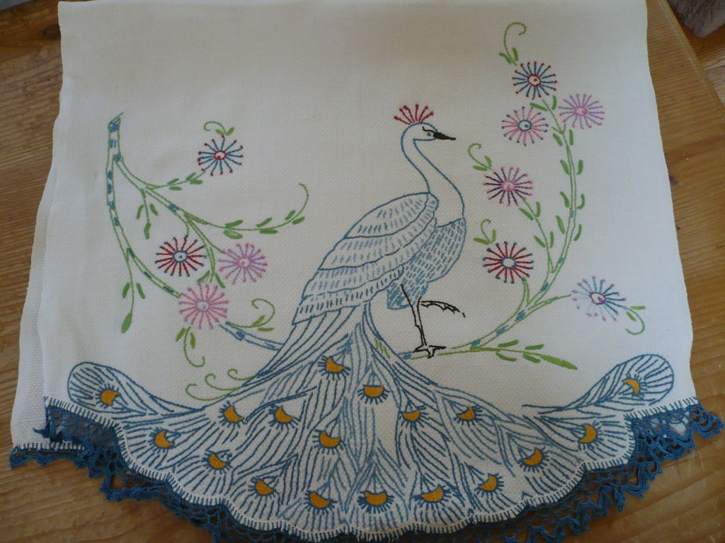 Hand Embroidered Crochet Peacock Towel