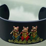 Vintage Celluloid 3 Pigs Bracelet