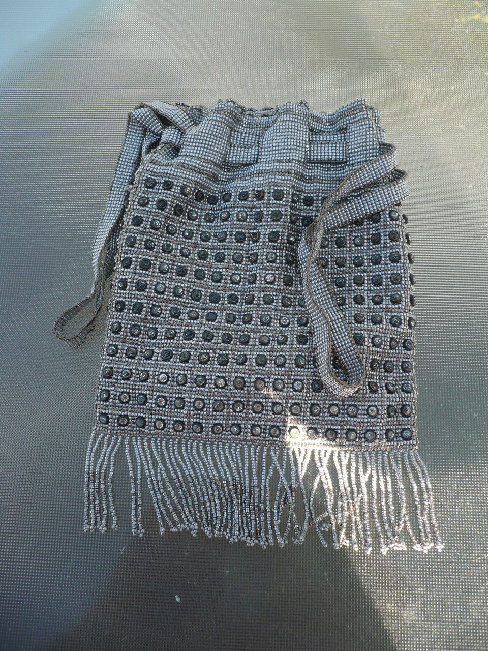 Steel Cut Beads & Rhinestone Victorian  Purse