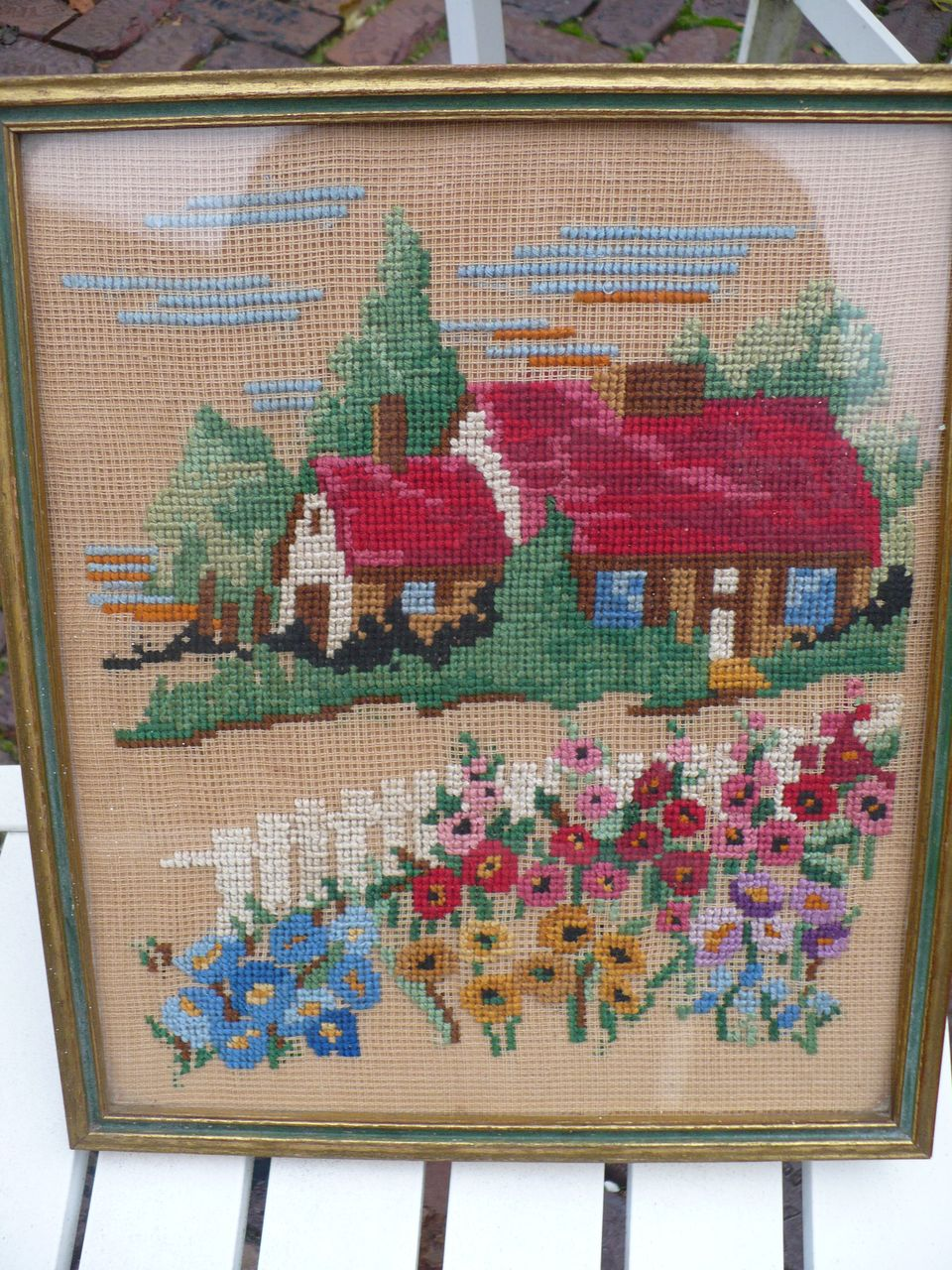 Vintage Needlepoint Cottage and flowers