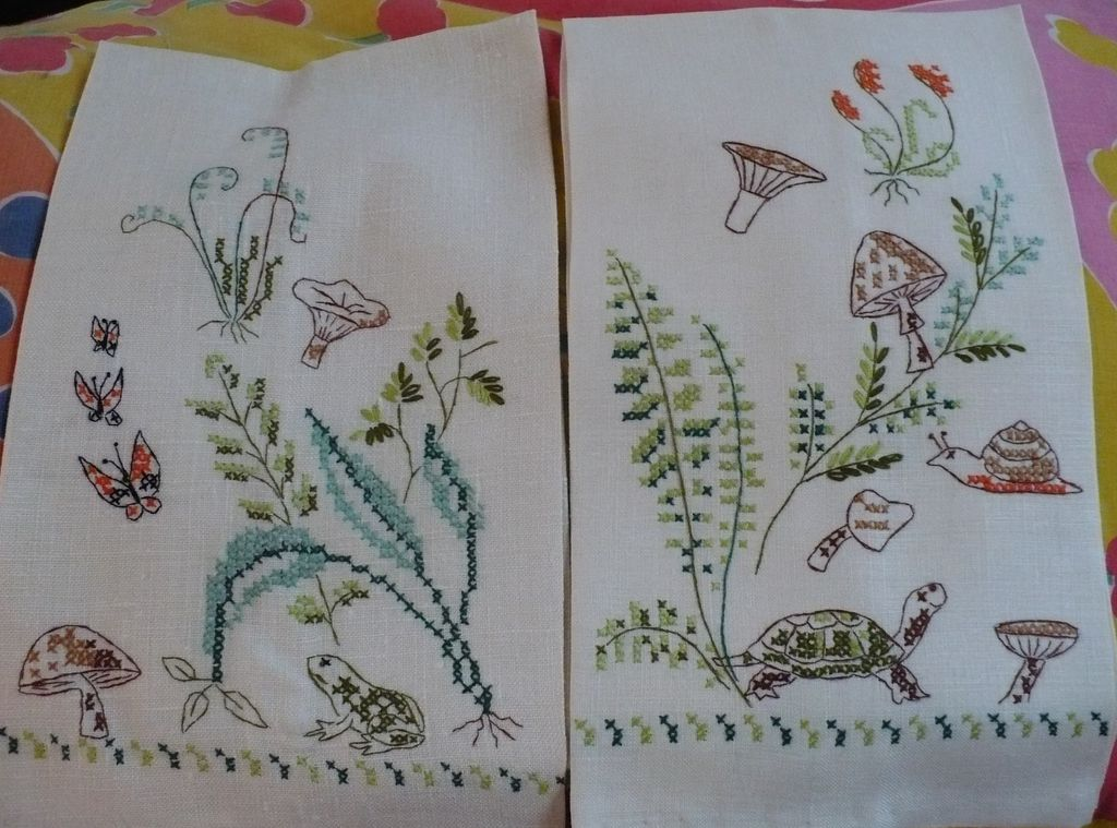 Hand Embroidered Mushroom Towels