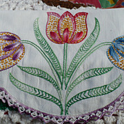 Hand Embroidered Floral Show Towel