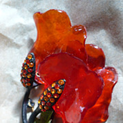 Orange Acetate Floral Pin