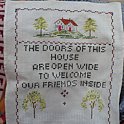 Vintage Hand Embroidered Sampler
