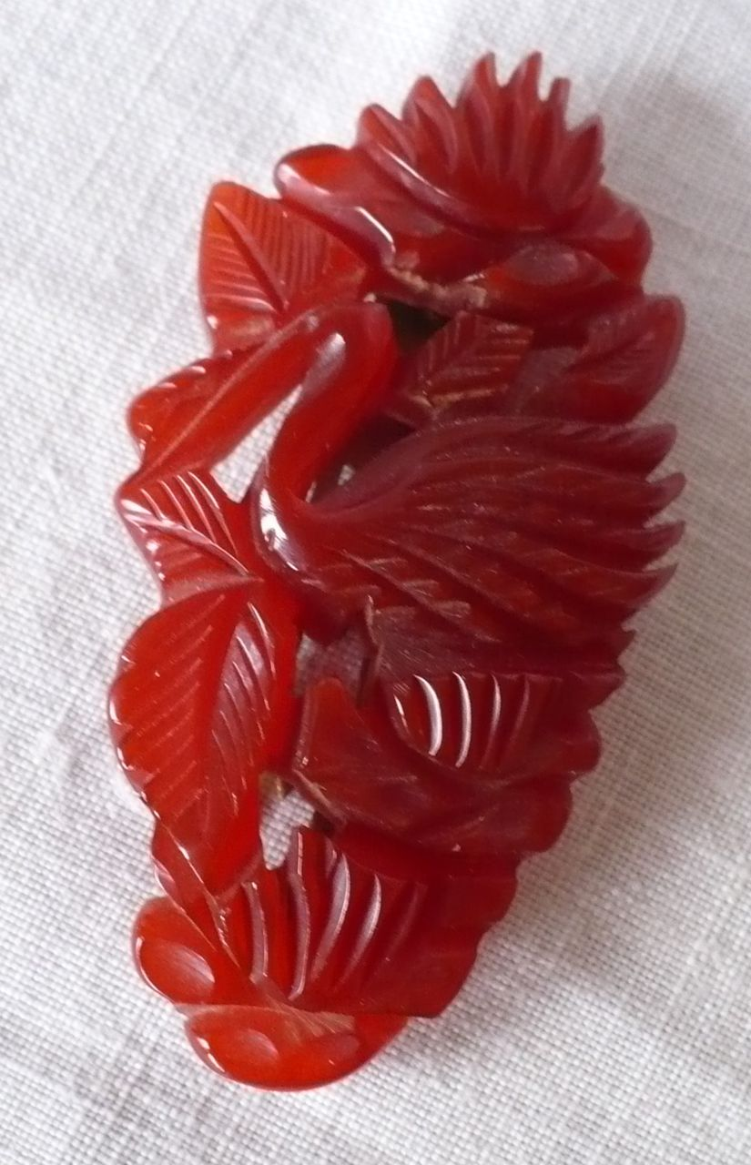 Carved Bird Fauna Bakelite Clip