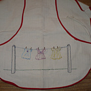 Vintage Hand Embroidered Clothes Pin Apron