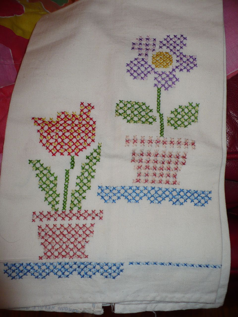 Vintage Flower Pot Embroidered Towel