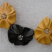 Three Flower Bakelite Pin