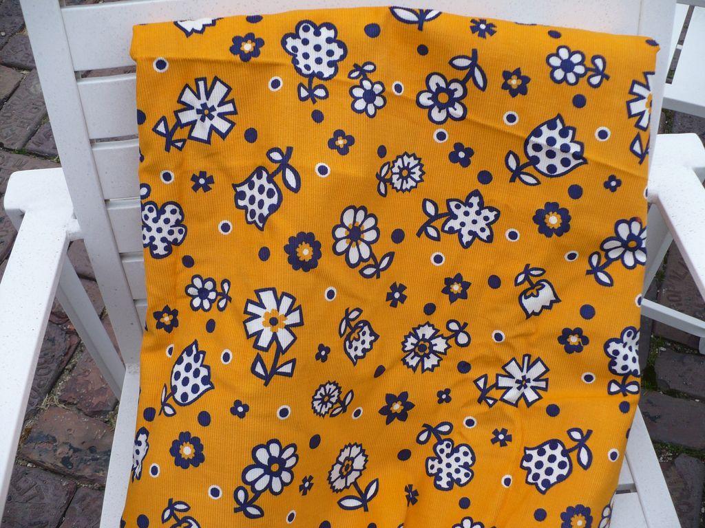 Flower Power Fabric 60's Corduroy