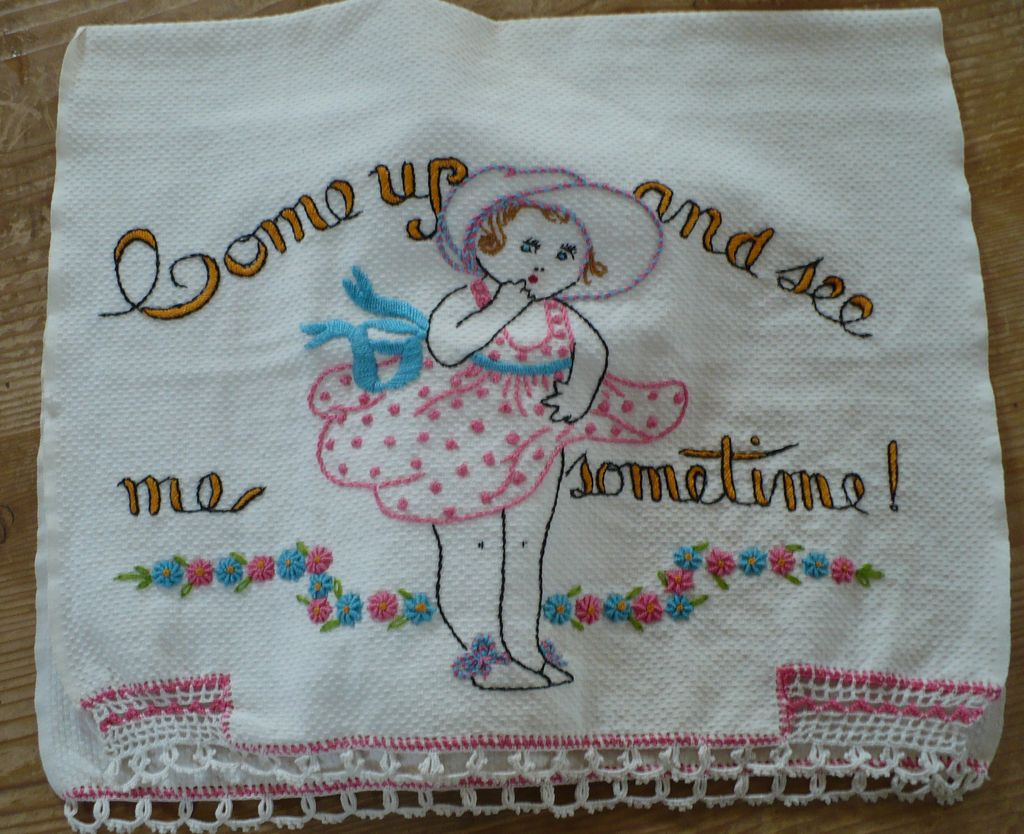 Come Up and See Me Sometime Embroidered Towel