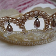 Faux Pearl Sequin Bridal Tiara Head Piece