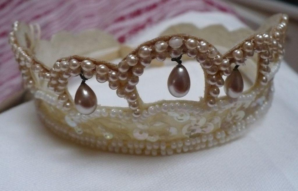 Faux Pearl Sequin Bridal Tiara Head Piece