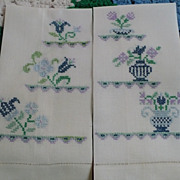 Hand Embroidered Floral Guest Towels