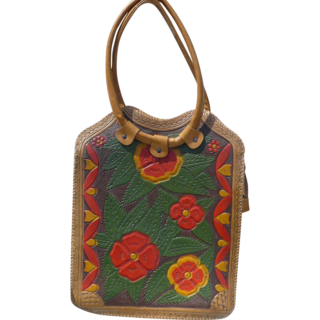 Hippy 60's Floral Tooled Leather Purse