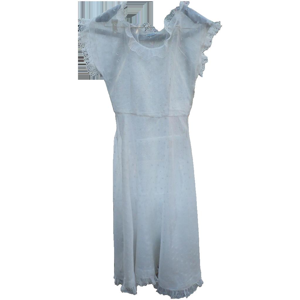 1940's Sheer Eyelet Dress