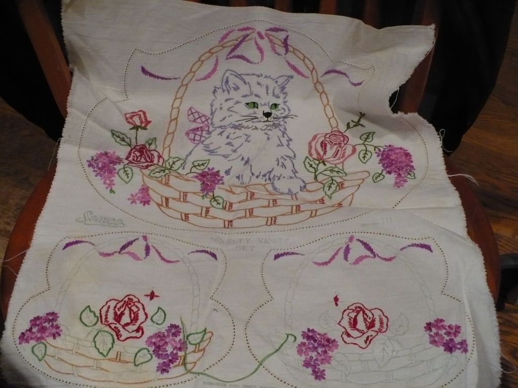 Hand Embroidered Cat  Vanity Set
