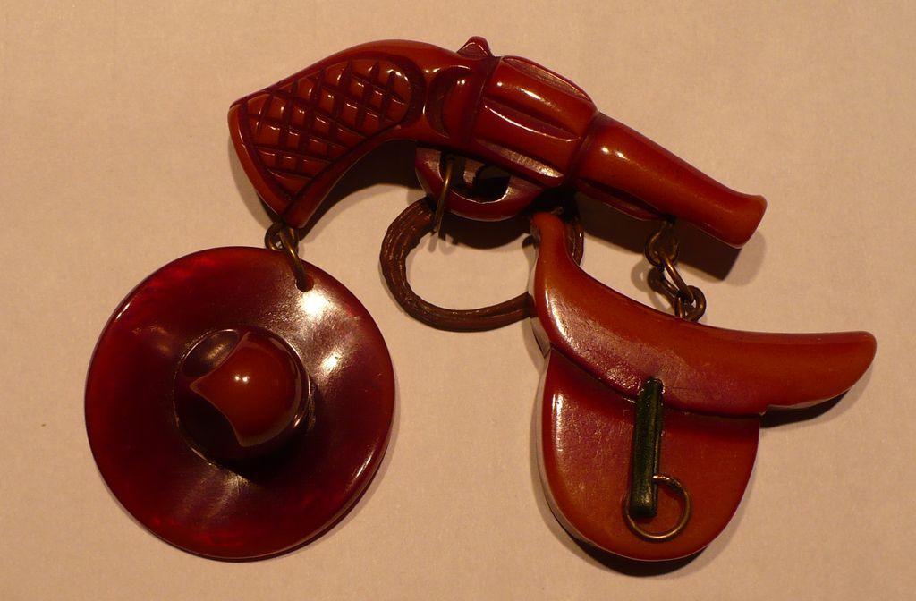 Bakelite Western Gun Cowboy Hat Saddle Pin
