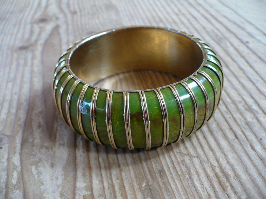 Bakelite Green Gold Clad Bracelet