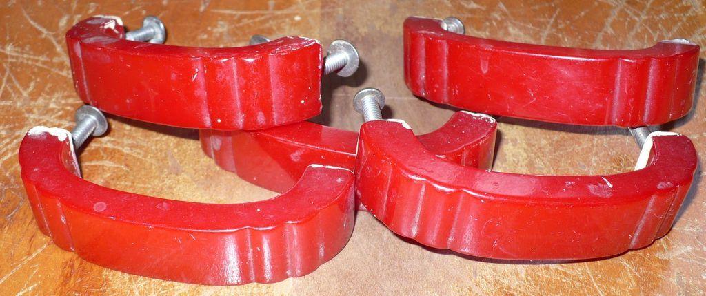Five Red Bakelite  Drawer Pulls Handles