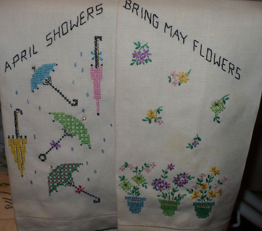 Embroidered  Spring April Flowers Guest Towels