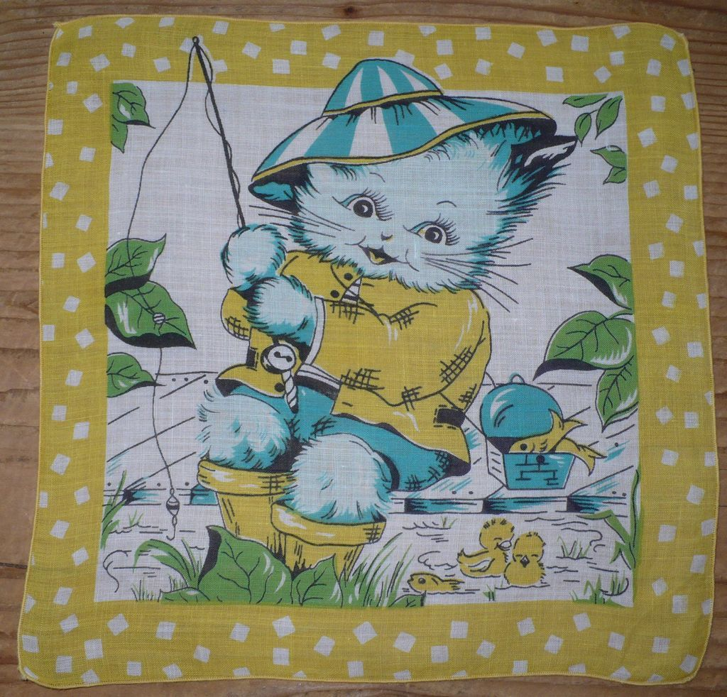 Kitty Fishing Child's Handkerchief