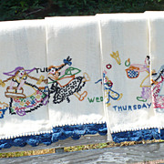 Six Days of the Week Dutch Girl Embroidered Towels