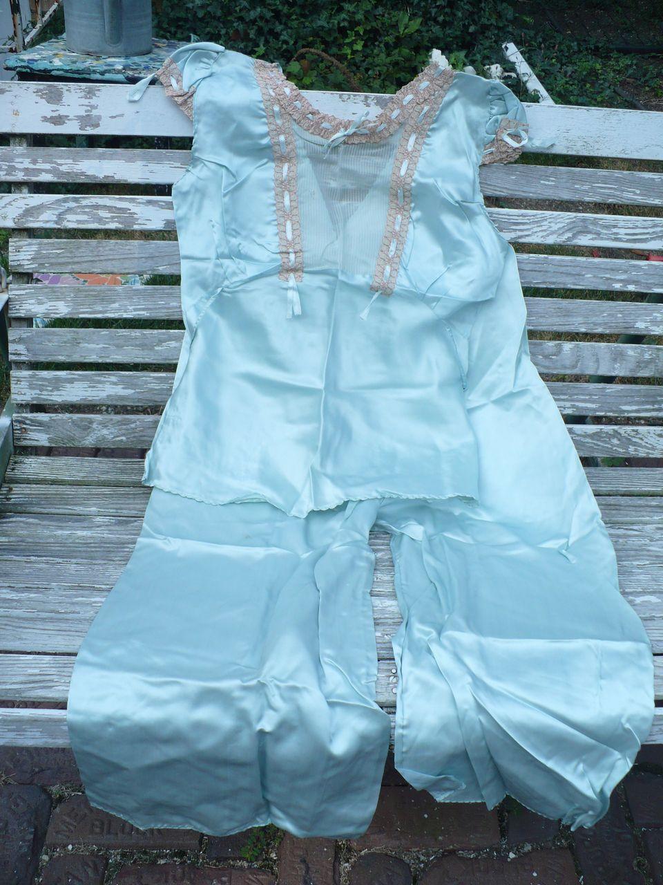Vintage Aqua Satin Pajamas