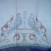 Embroidered Love Birds Towel