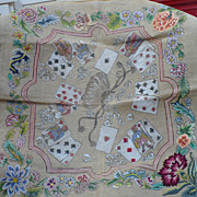 Vintage Card Table Top Needlepoint Canvas