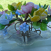 Glass Floral Lighted Centerpiece