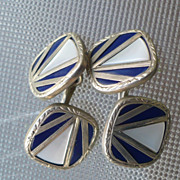 Cufflinks Two Sided Swank Art Deco Mother of Pearl & Enamel