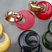 Interchangeable Bakelite Napier Earring Set