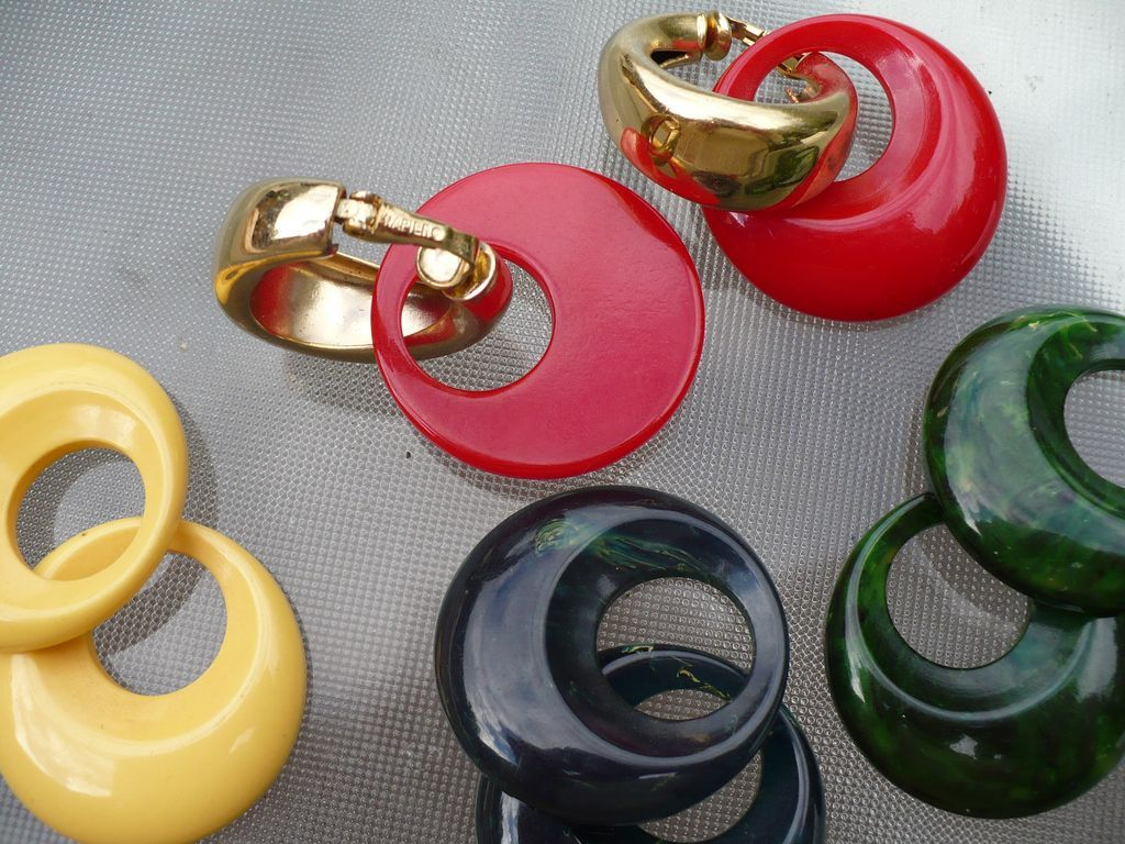 Interchangeable Bakelite Napier Earring Set