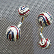 Sterling  Cufflinks Barbell Enamel