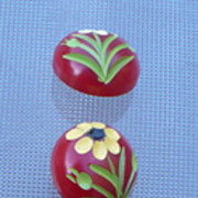 Five Red Bakelite  Flower Buttons